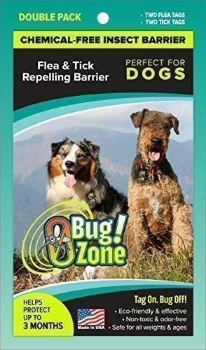 0Bug!Zone Flea and Tick Barrier Tag for Dogs, 2 Tags