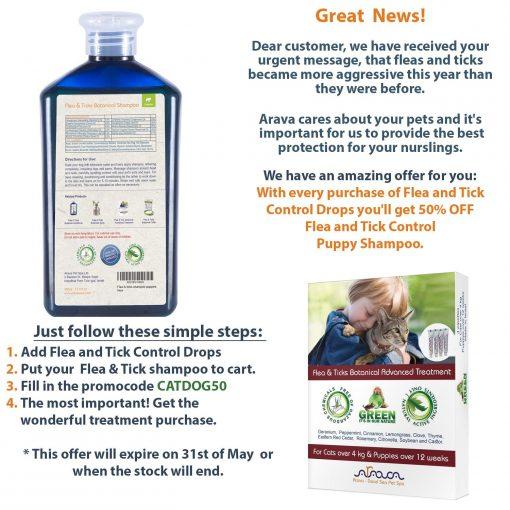 Arava Flea And Tick Control DogAndPuppy Shampoo, Pet Parasite Repellence And Prevention, Safe for Babies, Gently Scented Botanical Dead Sea Formula, 100% Natural Ingredients. 13.5 fl oz (2 Variations)