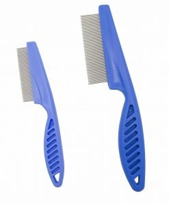 CiSiRUN 2PCS Dog Flea Comb Set, Zinc Alloy Tightly Spaced Teeth with Non-slip Plastic Handle, Blue