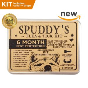 Spuddy's Premium Flea And Tick Prevention Collar For Dogs - 6-8 Month Treatment Prevents And Removes Fleas, Ticks, Lice And Mosquitos - 100% Assured Combo Kit