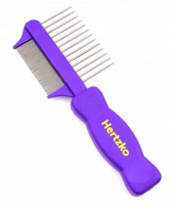 Double Sided Flea Comb by Hertzko - Densely Packed Pins Removes Fleas, Flea Eggs, and Debris, and the Wider Spaced Pins Detangles and Loosens Dead Undercoat - Suitable For Dogs And Cats