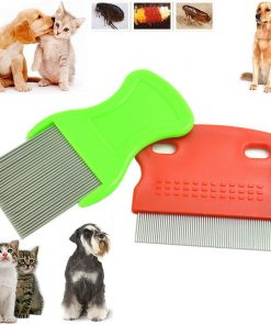 BoNaYuanDa Pack of 2 Pet Comb Durable Dog Puppy Cat Flea Cleaning Comb Grooming Brush Tool Random Color(1 Small And 1 Large)