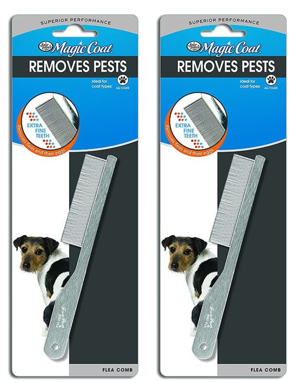 (2 Pack) Four Paws Magic Coat Flea Comb Extra Fine Coat Dog Flea Removal Comb