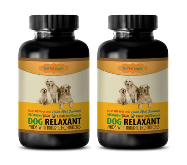 BEST PET SUPPLIES LLC Relaxer For Dogs - DOG RELAXANT - CALM AND RELAXED FOR DOGS - NATURAL BOTANICALS - CHEWABLE - Dog Relaxation Treats - 180 Chews (2 Bottle)