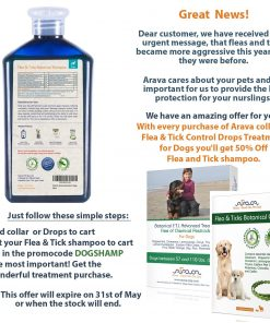 Arava Flea And Tick Control Dog And Puppy Shampoo, Pet Parasite Repellence And Prevention, Safe for Babies, Gently Scented Botanical Dead Sea Formula, 100% Natural Ingredients. 13.5 fl oz (2 Variations)
