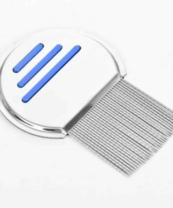 YIYU Premium Dogs Cats Pets Flea Lice Comb Stainless Steel (Mode A with Lines,Blue)