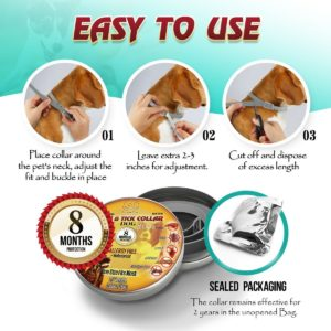 LukssStart bio Pest control Collar for Dogs: Hypoallergenic Adjustable Waterproof protection from 500 species of insects. One Size Fits ALL! Enhanced with Natural Oil