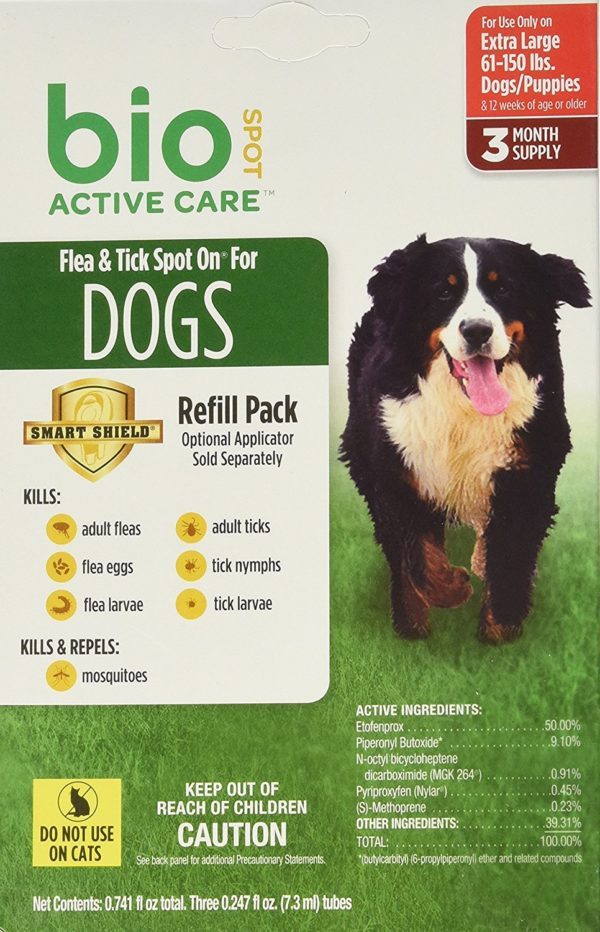 Bio Spot Active Care Flea And Tick Spot On For Extra Large Dogs (61-150 lbs.) 3 Month Refill