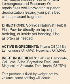 NaturVet Herbal Flea Powder With Essential Oils For Dogs And Cats, 4 oz Powder