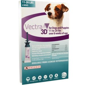 Vectra 3D Teal for Medium Dogs 11 - 20 Pounds (6 Doses)