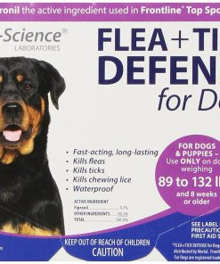 VetriScience Laboratories Flea + Tick Defense for 89 to 132-Pound Dogs and Puppies, 3 Doses