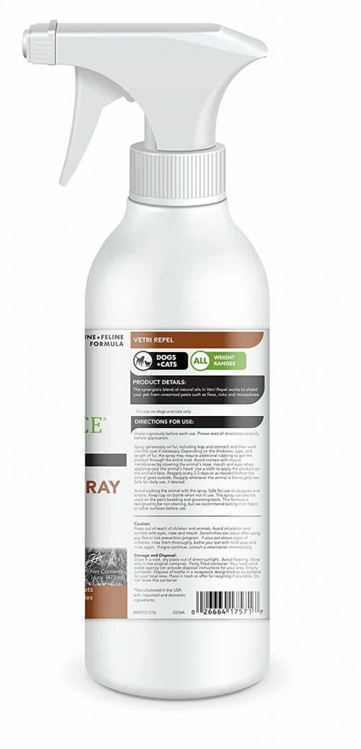 VetriScience Laboratories - Vetri Repel Flea And Tick Repellent Spray, 16 Ounce