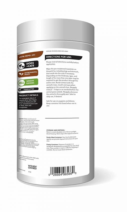 Vetriscience Laboratories - Vetri Repel, Natural Flea and Tick Repellant for Cats and Dogs, 60 Wipes