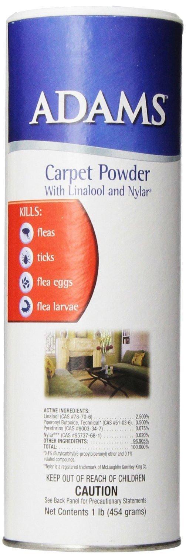 Adams Carpet Powder With Linolool And Nylar 16 oz Kills Fleas Ticks All 4 Stages