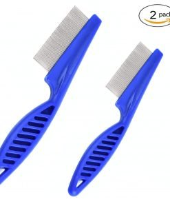 Baobeir Pet Grooming Tool Flea Removal Comb Zinc Alloy Tightly Spaced Teeth with Non-slip ABS Plastic Handle (2 Pieces)