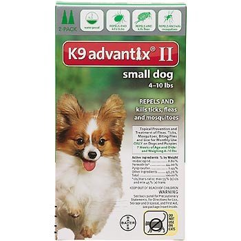Bayer K9 Advantix II For Dogs 4-10 lbs, 2 Month Supply