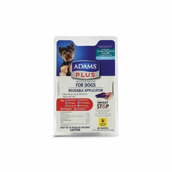 Adams Plus Flea and Tick Spot On for Dogs, Small Dogs 5-14 Pounds, 3 Month Supply, With Applicator