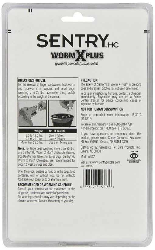Sentry Worm X Plus 7 Way De-Wormer Treats And Controls For Dog Puppies 6 Count Small