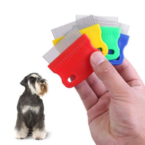 Vktech One piece Pet Fine Toothed Comb Cat Dog Grooming Steel Flea Comb Random Color