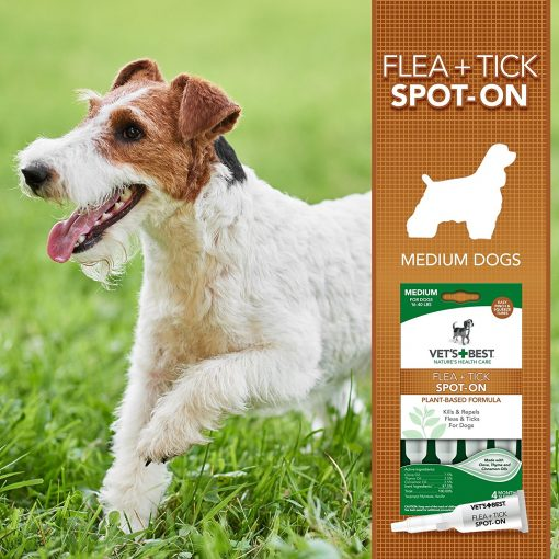 Vet's Best Flea and Tick Spot-On Drops Topical Treatment For Dogs, USA Made
