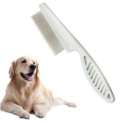 Baobeir Pets Dog Cat Removal Flea Lice Comb Non-slip Tight Zinc Alloy (White)