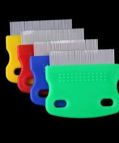 Vktech One piece Pet Fine Toothed Comb Cat Dog Grooming Steel Flea Comb Random Color