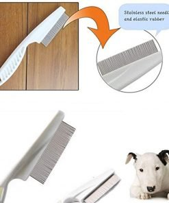 Baobeir Pets Dog Cat Removal Flea Lice Comb Non-slip Tight Zinc Alloy (White)